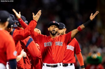 BOSTON, MA - OCTOBER 5: Eduardo Nunez #36 of the Boston Red Sox high fives teammates as he is introduced before game one of the American League Division Series against the New York Yankees on October 5, 2018 at Fenway Park in Boston, Massachusetts. (Photo by Billie Weiss/Boston Red Sox/Getty Images) *** Local Caption *** Eduardo Nunez