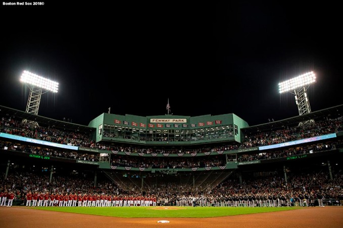 BOSTON, MA - OCTOBER 5: Starting lineups are introduced before game one of the American League Division Series between the Boston Red Sox and the New York Yankees on October 5, 2018 at Fenway Park in Boston, Massachusetts. (Photo by Billie Weiss/Boston Red Sox/Getty Images) *** Local Caption ***