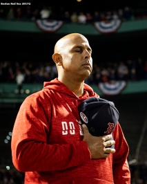 BOSTON, MA - OCTOBER 5: Manager Alex Cora of the Boston Red Sox pauses during the playing of the National Anthem before game one of the American League Division Series against the New York Yankees on October 5, 2018 at Fenway Park in Boston, Massachusetts. (Photo by Billie Weiss/Boston Red Sox/Getty Images) *** Local Caption *** Alex Cora