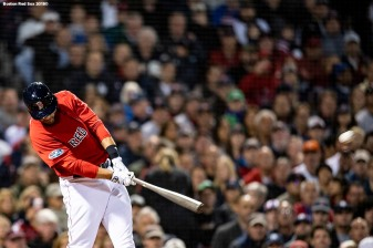 BOSTON, MA - OCTOBER 5: J.D. Martinez #28 of the Boston Red Sox hits a three run home run during the first inning of game one of the American League Division Series against the New York Yankees on October 5, 2018 at Fenway Park in Boston, Massachusetts. (Photo by Billie Weiss/Boston Red Sox/Getty Images) *** Local Caption *** J.D. Martinez