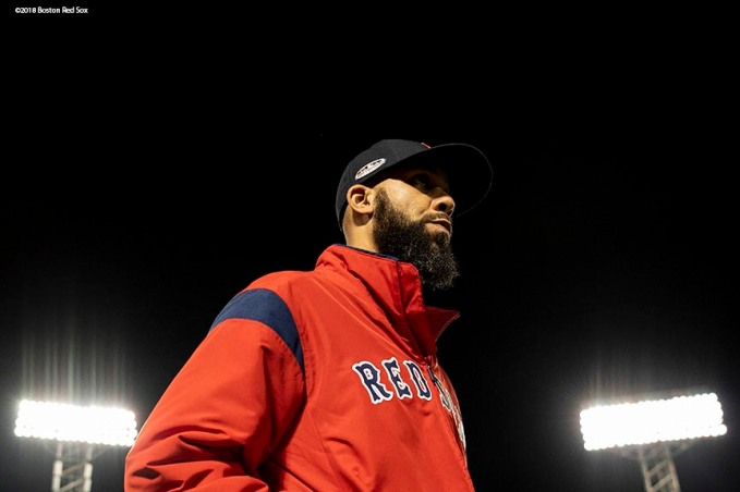 BOSTON, MA - OCTOBER 6: David Price #23 of the Boston Red Sox walks toward the bullpen before game two of the American League Division Series against the New York Yankees on October 6, 2018 at Fenway Park in Boston, Massachusetts. (Photo by Billie Weiss/Boston Red Sox/Getty Images) *** Local Caption *** David Price