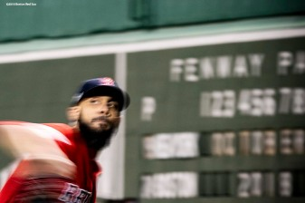 BOSTON, MA - OCTOBER 6: David Price #23 of the Boston Red Sox warms up before game two of the American League Division Series against the New York Yankees on October 6, 2018 at Fenway Park in Boston, Massachusetts. (Photo by Billie Weiss/Boston Red Sox/Getty Images) *** Local Caption *** David Price