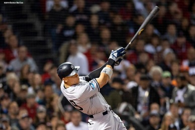 BOSTON, MA - OCTOBER 6: Aaron Judge #99 of the New York Yankees hits a solo home run during the first inning of game two of the American League Division Series against the Boston Red Sox on October 6, 2018 at Fenway Park in Boston, Massachusetts. (Photo by Billie Weiss/Boston Red Sox/Getty Images) *** Local Caption *** Aaron Judge