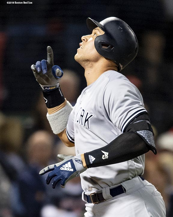 BOSTON, MA - OCTOBER 6: Aaron Judge #99 of the New York Yankees reacts after hitting a solo home run during the first inning of game two of the American League Division Series against the Boston Red Sox on October 6, 2018 at Fenway Park in Boston, Massachusetts. (Photo by Billie Weiss/Boston Red Sox/Getty Images) *** Local Caption *** Aaron Judge