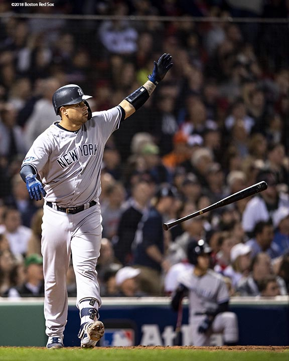 BOSTON, MA - OCTOBER 6: Gary Sanchez #24 of the New York Yankees reacts after hitting a three run home run during the seventh inning of game two of the American League Division Series against the Boston Red Sox on October 6, 2018 at Fenway Park in Boston, Massachusetts. (Photo by Billie Weiss/Boston Red Sox/Getty Images) *** Local Caption *** Gary Sanchez