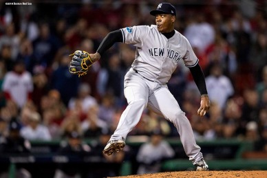 BOSTON, MA - OCTOBER 6: Aroldis Chapman #54 of the New York Yankees delivers during the ninth inning of game two of the American League Division Series against the Boston Red Sox on October 6, 2018 at Fenway Park in Boston, Massachusetts. (Photo by Billie Weiss/Boston Red Sox/Getty Images) *** Local Caption *** Aroldis Chapman