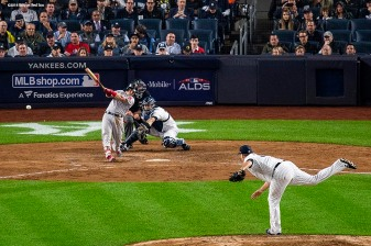 NEW YORK, NY - OCTOBER 8: Andrew Benintendi #16 of the Boston Red Sox hits a bases clearing RBI double during the fourth inning of game three of the American League Division Series against the New York Yankees on October 8, 2018 at Yankee Stadium in the Bronx borough of New York City. (Photo by Billie Weiss/Boston Red Sox/Getty Images) *** Local Caption *** Andrew Benintendi