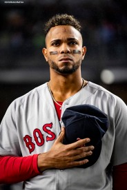 NEW YORK, NY - OCTOBER 8: Xander Bogaerts #2 of the Boston Red Sox looks on before game three of the American League Division Series against the New York Yankees on October 8, 2018 at Yankee Stadium in the Bronx borough of New York City. (Photo by Billie Weiss/Boston Red Sox/Getty Images) *** Local Caption *** Xander Bogaerts