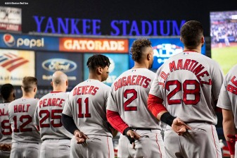 NEW YORK, NY - OCTOBER 8: Members of the Boston Red Sox are introduced before game three of the American League Division Series against the New York Yankees on October 8, 2018 at Yankee Stadium in the Bronx borough of New York City. (Photo by Billie Weiss/Boston Red Sox/Getty Images) *** Local Caption ***
