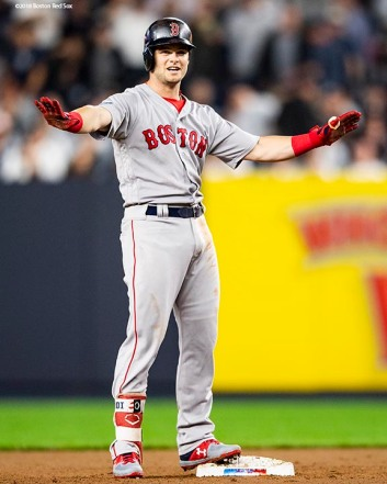NEW YORK, NY - OCTOBER 8: Andrew Benintendi #16 of the Boston Red Sox reacts after hitting a bases clearing RBI double during the fourth inning of game three of the American League Division Series against the New York Yankees on October 8, 2018 at Yankee Stadium in the Bronx borough of New York City. (Photo by Billie Weiss/Boston Red Sox/Getty Images) *** Local Caption *** Andrew Benintendi