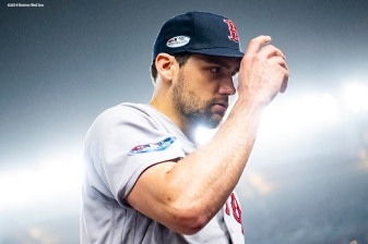 NEW YORK, NY - OCTOBER 8: Nathan Eovaldi #17 of the Boston Red Sox reacts during the sixth inning of game three of the American League Division Series against the New York Yankees on October 8, 2018 at Yankee Stadium in the Bronx borough of New York City. (Photo by Billie Weiss/Boston Red Sox/Getty Images) *** Local Caption *** Nathan Eovaldi
