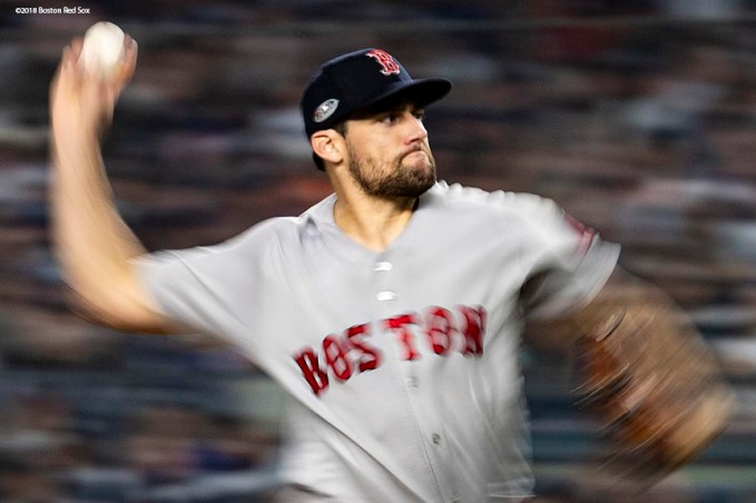 NEW YORK, NY - OCTOBER 8: Nathan Eovaldi #17 of the Boston Red Sox delivers during the sixth inning of game three of the American League Division Series against the New York Yankees on October 8, 2018 at Yankee Stadium in the Bronx borough of New York City. (Photo by Billie Weiss/Boston Red Sox/Getty Images) *** Local Caption *** Nathan Eovaldi