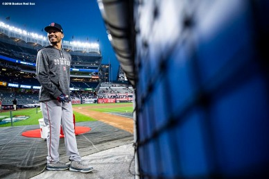 NEW YORK, NY - OCTOBER 9: Mookie Betts #50 of the Boston Red Sox reacts as he takes batting practice before game four of the American League Division Series against the New York Yankees on October 9, 2018 at Yankee Stadium in the Bronx borough of New York City. (Photo by Billie Weiss/Boston Red Sox/Getty Images) *** Local Caption *** Mookie Betts