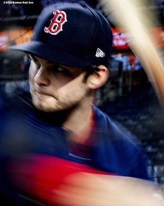 NEW YORK, NY - OCTOBER 9: Andrew Benintendi #16 of the Boston Red Sox takes batting practice before game four of the American League Division Series against the New York Yankees on October 9, 2018 at Yankee Stadium in the Bronx borough of New York City. (Photo by Billie Weiss/Boston Red Sox/Getty Images) *** Local Caption *** Andrew Benintendi