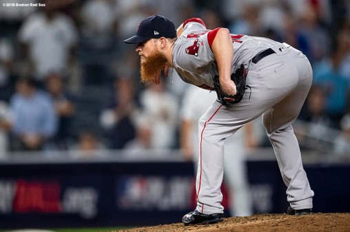 NEW YORK, NY - OCTOBER 9: Craig Kimbrel #46 of the Boston Red Sox prepares to pitch during the ninth inning of game four of the American League Division Series against the New York Yankees on October 9, 2018 at Yankee Stadium in the Bronx borough of New York City. (Photo by Billie Weiss/Boston Red Sox/Getty Images) *** Local Caption *** Craig Kimbrel