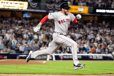 NEW YORK, NY - OCTOBER 9: J.D. Martinez #28 of the Boston Red Sox runs to first base as he hits a single during the first inning of game four of the American League Division Series against the New York Yankees on October 9, 2018 at Yankee Stadium in the Bronx borough of New York City. (Photo by Billie Weiss/Boston Red Sox/Getty Images) *** Local Caption *** J.D. Martinez