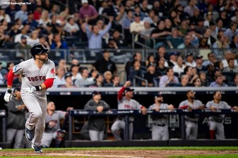 NEW YORK, NY - OCTOBER 9: J.D. Martinez #28 of the Boston Red Sox hits a sacrifice fly during the third inning of game four of the American League Division Series against the New York Yankees on October 9, 2018 at Yankee Stadium in the Bronx borough of New York City. (Photo by Billie Weiss/Boston Red Sox/Getty Images) *** Local Caption *** J.D. Martinez