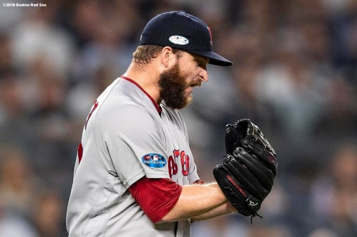 NEW YORK, NY - OCTOBER 9: Ryan Brasier #70 of the Boston Red Sox reacts during the seventh inning of game four of the American League Division Series against the New York Yankees on October 9, 2018 at Yankee Stadium in the Bronx borough of New York City. (Photo by Billie Weiss/Boston Red Sox/Getty Images) *** Local Caption *** Ryan Brasier