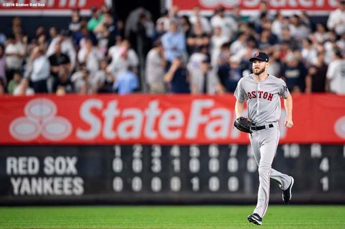 NEW YORK, NY - OCTOBER 9: Chris Sale #41 of the Boston Red Sox enters the game during the eighth inning of game four of the American League Division Series against the New York Yankees on October 9, 2018 at Yankee Stadium in the Bronx borough of New York City. (Photo by Billie Weiss/Boston Red Sox/Getty Images) *** Local Caption *** Chris Sale