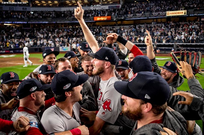 NEW YORK, NY - OCTOBER 9: Chris Sale #41 of the Boston Red Sox celebrates with teammates after clinching the American League Division Series in game four against the New York Yankees on October 9, 2018 at Yankee Stadium in the Bronx borough of New York City. (Photo by Billie Weiss/Boston Red Sox/Getty Images) *** Local Caption *** Chris Sale