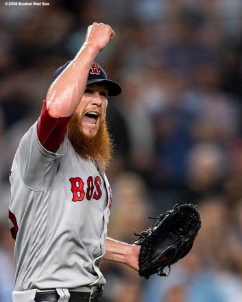 NEW YORK, NY - OCTOBER 9: Craig Kimbrel #46 of the Boston Red Sox celebrates after clinching the American League Division Series in game four against the New York Yankees on October 9, 2018 at Yankee Stadium in the Bronx borough of New York City. (Photo by Billie Weiss/Boston Red Sox/Getty Images) *** Local Caption *** Craig Kimbrel