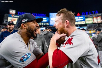 NEW YORK, NY - OCTOBER 9: Craig Kimbrel #46 and Eduardo Nunez #36 of the Boston Red Sox celebrate after clinching the American League Division Series in game four against the New York Yankees on October 9, 2018 at Yankee Stadium in the Bronx borough of New York City. (Photo by Billie Weiss/Boston Red Sox/Getty Images) *** Local Caption *** Craig Kimbrel; Eduardo Nunez