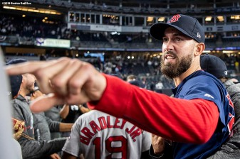 NEW YORK, NY - OCTOBER 9: Rick Porcello #22 of the Boston Red Sox celebrates after clinching the American League Division Series in game four against the New York Yankees on October 9, 2018 at Yankee Stadium in the Bronx borough of New York City. (Photo by Billie Weiss/Boston Red Sox/Getty Images) *** Local Caption *** Rick Porcello
