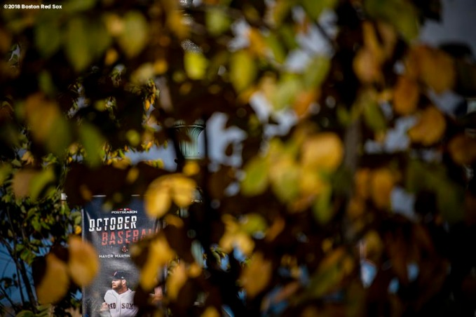 BOSTON, MA - OCTOBER 13: An October Baseball sign is displayed before game one of the American League Championship Series between the Boston Red Sox the Houston Astros on October 13, 2018 at Fenway Park in Boston, Massachusetts. (Photo by Billie Weiss/Boston Red Sox/Getty Images) *** Local Caption ***