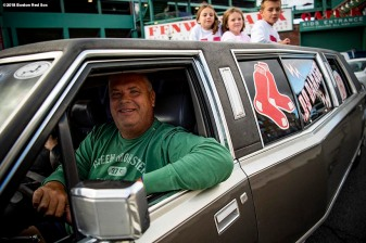 BOSTON, MA - OCTOBER 13: A fan drives a limo before game one of the American League Championship Series between the Boston Red Sox the Houston Astros on October 13, 2018 at Fenway Park in Boston, Massachusetts. (Photo by Billie Weiss/Boston Red Sox/Getty Images) *** Local Caption ***