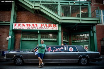 BOSTON, MA - OCTOBER 13: A fan poses with his limo before game one of the American League Championship Series between the Boston Red Sox the Houston Astros on October 13, 2018 at Fenway Park in Boston, Massachusetts. (Photo by Billie Weiss/Boston Red Sox/Getty Images) *** Local Caption ***
