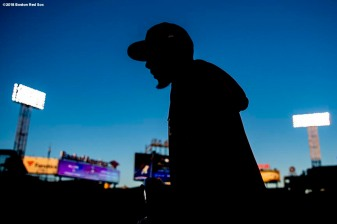 BOSTON, MA - OCTOBER 13: Mookie Betts #50 of the Boston Red Sox looks on before game one of the American League Championship Series against the Houston Astros on October 13, 2018 at Fenway Park in Boston, Massachusetts. (Photo by Billie Weiss/Boston Red Sox/Getty Images) *** Local Caption *** Mookie Betts