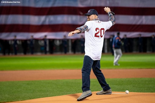 BOSTON, MA - OCTOBER 13: Former Boston Red Sox player Kevin Youkilis throws the ceremonial first pitch before game one of the American League Championship Series between the Boston Red Sox and the Houston Astros on October 13, 2018 at Fenway Park in Boston, Massachusetts. (Photo by Billie Weiss/Boston Red Sox/Getty Images) *** Local Caption *** Kevin Youkilis