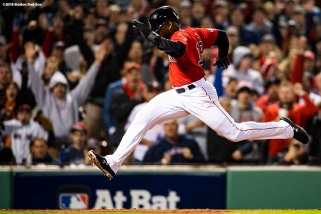 BOSTON, MA - OCTOBER 13: Jackie Bradley Jr. #19 of the Boston Red Sox scores on a passed ball by Justin Verlander #35 of the Houston Astros during the fifth inning of game one of the American League Championship Series on October 13, 2018 at Fenway Park in Boston, Massachusetts. (Photo by Billie Weiss/Boston Red Sox/Getty Images) *** Local Caption *** Jackie Bradley Jr.; Justin Verlander