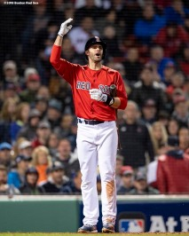 BOSTON, MA - OCTOBER 13: J.D. Martinez #28 of the Boston Red Sox reacts after striking out during the eighth inning of game one of the American League Championship Series against the Houston Astros on October 13, 2018 at Fenway Park in Boston, Massachusetts. (Photo by Billie Weiss/Boston Red Sox/Getty Images) *** Local Caption *** J.D. Martinez