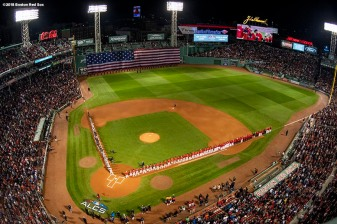 BOSTON, MA - OCTOBER 13: A general view as starting lineups are introduced before game one of the American League Championship Series between the Boston Red Sox and the Houston Astros on October 13, 2018 at Fenway Park in Boston, Massachusetts. (Photo by Billie Weiss/Boston Red Sox/Getty Images) *** Local Caption ***