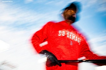BOSTON, MA - OCTOBER 14: Jackie Bradley Jr. #19 of the Boston Red Sox looks on before game two of the American League Championship Series against the Houston Astros on October 14, 2018 at Fenway Park in Boston, Massachusetts. (Photo by Billie Weiss/Boston Red Sox/Getty Images) *** Local Caption *** Jackie Bradley Jr.