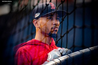 BOSTON, MA - OCTOBER 14: (EDITOR NOTE: this image is created using an in camera multiple exposure.) Mookie Betts #50 of the Boston Red Sox looks on before game two of the American League Championship Series against the Houston Astros on October 14, 2018 at Fenway Park in Boston, Massachusetts. (Photo by Billie Weiss/Boston Red Sox/Getty Images) *** Local Caption *** Mookie Betts