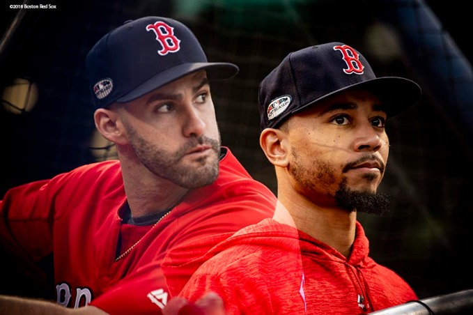 BOSTON, MA - OCTOBER 14: (EDITOR NOTE: this image is created using an in camera multiple exposure.) J.D. Martinez #28 and Mookie Betts #50 of the Boston Red Sox take batting practice before game two of the American League Championship Series against the Houston Astros on October 14, 2018 at Fenway Park in Boston, Massachusetts. (Photo by Billie Weiss/Boston Red Sox/Getty Images) *** Local Caption *** Mookie Betts; J.D. Martinez
