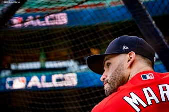 BOSTON, MA - OCTOBER 14: J.D. Martinez #28 of the Boston Red Sox takes batting practice before game two of the American League Championship Series against the Houston Astros on October 14, 2018 at Fenway Park in Boston, Massachusetts. (Photo by Billie Weiss/Boston Red Sox/Getty Images) *** Local Caption *** J.D. Martinez