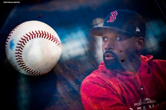 BOSTON, MA - OCTOBER 14: (EDITOR NOTE: this image is created using an in camera multiple exposure.) Jackie Bradley Jr. #19 of the Boston Red Sox takes batting practice before game two of the American League Championship Series against the Houston Astros on October 14, 2018 at Fenway Park in Boston, Massachusetts. (Photo by Billie Weiss/Boston Red Sox/Getty Images) *** Local Caption *** Jackie Bradley Jr.