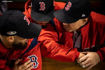 BOSTON, MA - OCTOBER 14: Members of the Boston Red Sox talk before game two of the American League Championship Series against the Houston Astros on October 14, 2018 at Fenway Park in Boston, Massachusetts. (Photo by Billie Weiss/Boston Red Sox/Getty Images) *** Local Caption ***