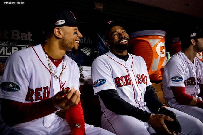 BOSTON, MA - OCTOBER 14: Mookie Betts #50 reacts with Jackie Bradley Jr. #19 of the Boston Red Sox before game two of the American League Championship Series against the Houston Astros on October 14, 2018 at Fenway Park in Boston, Massachusetts. (Photo by Billie Weiss/Boston Red Sox/Getty Images) *** Local Caption *** Jackie Bradley Jr.; Mookie Betts