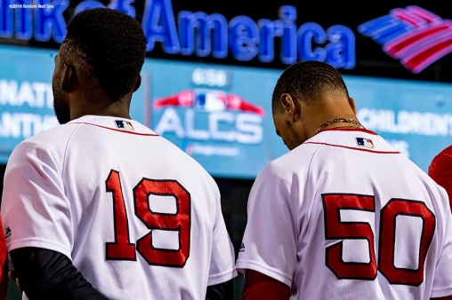 BOSTON, MA - OCTOBER 14: Jackie Bradley Jr. #19 and Mookie Betts #50 of the Boston Red Sox look on before game two of the American League Championship Series against the Houston Astros on October 14, 2018 at Fenway Park in Boston, Massachusetts. (Photo by Billie Weiss/Boston Red Sox/Getty Images) *** Local Caption *** Jackie Bradley Jr.; Mookie Betts