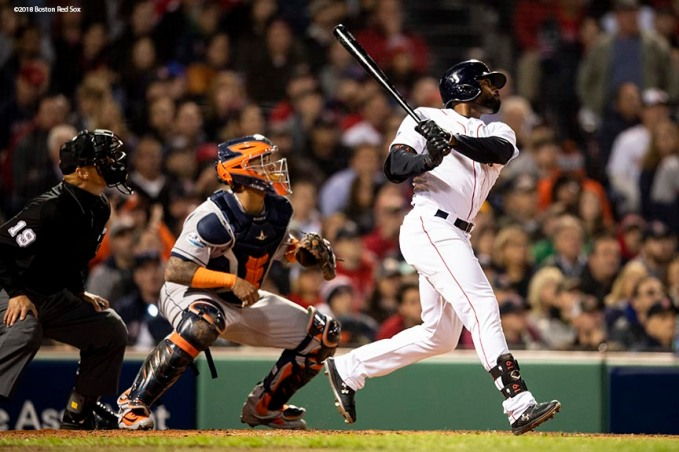 BOSTON, MA - OCTOBER 14: Jackie Bradley Jr. #19 of the Boston Red Sox hits an RBI double during the third inning of game two of the American League Championship Series against the Houston Astros on October 14, 2018 at Fenway Park in Boston, Massachusetts. (Photo by Billie Weiss/Boston Red Sox/Getty Images) *** Local Caption *** Jackie Bradley Jr.