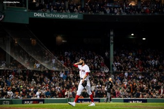 BOSTON, MA - OCTOBER 14: David Price #24 of the Boston Red Sox reacts as he exits the game during the fifth inning of game two of the American League Championship Series against the Houston Astros on October 14, 2018 at Fenway Park in Boston, Massachusetts. (Photo by Billie Weiss/Boston Red Sox/Getty Images) *** Local Caption *** David Price