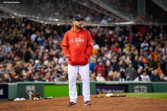 BOSTON, MA - OCTOBER 14: Manager Alex Cora of the Boston Red Sox looks on during the sixth inning of game two of the American League Championship Series against the Houston Astros on October 14, 2018 at Fenway Park in Boston, Massachusetts. (Photo by Billie Weiss/Boston Red Sox/Getty Images) *** Local Caption *** Alex Cora