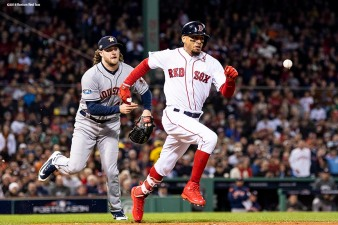 BOSTON, MA - OCTOBER 14: Gerrit Cole #45 of the Houston Astros throws out Mookie Betts #50 of the Boston Red Sox during the fourth inning in Game Two of the American League Championship Series at Fenway Park on October 14, 2018 in Boston, Massachusetts. (Photo by Billie Weiss/Boston Red Sox/Getty Images) *** Local Caption *** Mookie Betts; Gerrit Cole