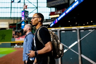 HOUSTON, TX - OCTOBER 15: Mookie Betts #50 of the Boston Red Sox arrives during a workout before game three of the American League Championship Series against the Houston Astros on October 15, 2018 at Minute Maid Park in Houston, Texas. (Photo by Billie Weiss/Boston Red Sox/Getty Images) *** Local Caption *** Mookie Betts