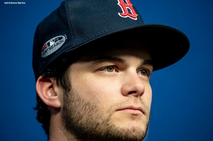 HOUSTON, TX - OCTOBER 15: Andrew Benintendi #16 of the Boston Red Sox addresses the media in a press conference during a workout before game three of the American League Championship Series against the Houston Astros on October 15, 2018 at Minute Maid Park in Houston, Texas. (Photo by Billie Weiss/Boston Red Sox/Getty Images) *** Local Caption *** Andrew Benintendi