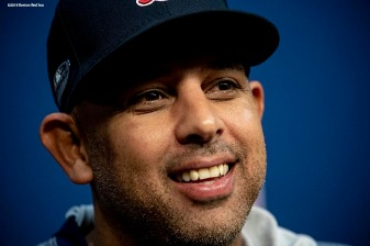 HOUSTON, TX - OCTOBER 15: Manager Alex Cora of the Boston Red Sox addresses the media in a press conference during a workout before game three of the American League Championship Series against the Houston Astros on October 15, 2018 at Minute Maid Park in Houston, Texas. (Photo by Billie Weiss/Boston Red Sox/Getty Images) *** Local Caption *** Alex Cora